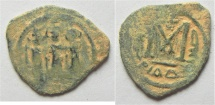 Ancient Coins - ISLAMIC. Umayyad Caliphate. Arab-Byzantine series. AE fals . Tiberias Mint