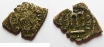 Ancient Coins - ARAB-BYZANTINE. JERUSALIM MINT. ضري ايليا . فلسطين AE FALS. ABDUL MALIK BIN MARWAN