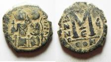 Ancient Coins - BYZANTINE. JUSTIN II & SOPHIA AE FOLLIS. CONSTANTINOPLE. ORIGINAL DESERT PATINA