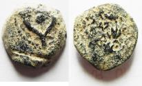 Ancient Coins - ORIGINAL DESERT PATINA: BEAUTIFUL HASMONEAN AE PRUTAH