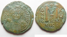 Ancient Coins - BYZANTINE. Justinian I (AD 527-565). AE follis (39mm, 21.76g). Nicomedia mint, 2nd officina. Struck in regnal year 15 (AD 541/2).