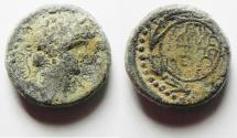 Ancient Coins - Agrippa II under Nero. AE 17. Founding of Neronias. 1/2 Denomination