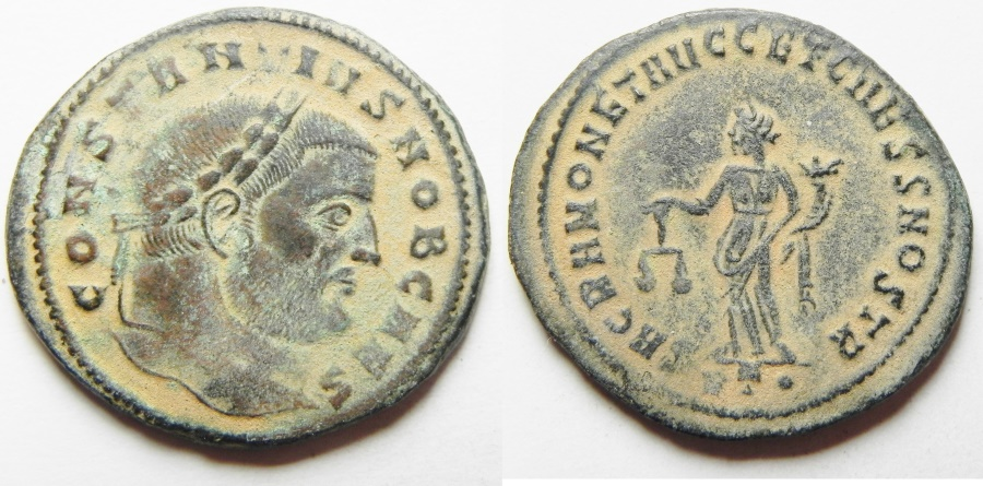 Ancient Coins - Constantius I. As Caesar Æ Follis. Rome