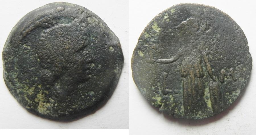 Ancient Coins - Egypt. Alexandria Livia under Augustus (27 BC-AD14). AE diobol (23mm, 6.60g). year 41 (11-12A.D)
