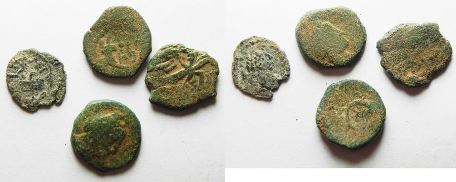 Ancient Coins - LOT OF 4 ANCIENT COINS MOSTLY NABATAEAN