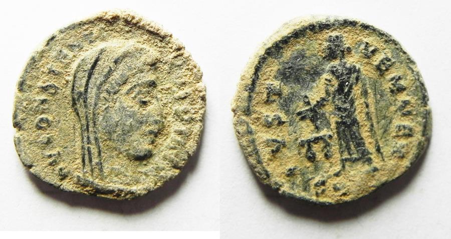 Ancient Coins - ORIGIANL DESERT PATINA. CONSTANTINE I POSTHUMOUS ISSUE, RARE UNDER CONSTANTIUS II AE 4