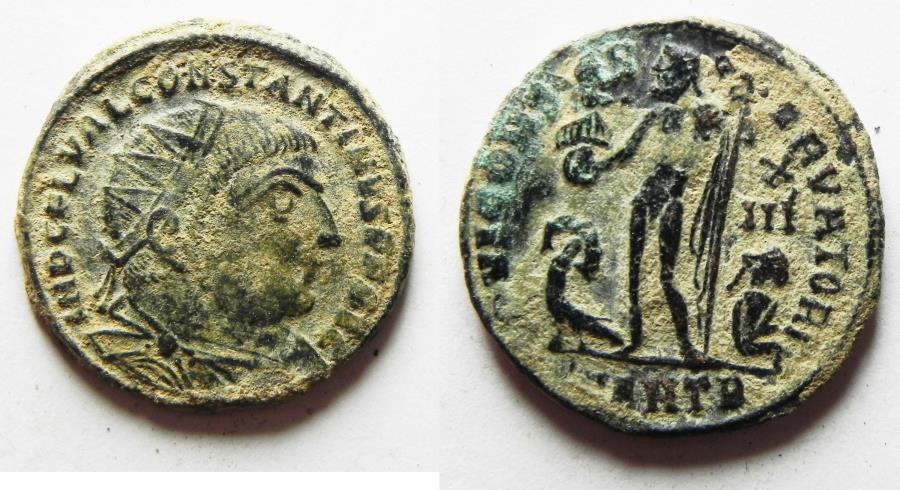 Ancient Coins - ORIGINAL DESERT PATINA. CONSTANTINE I AE FOLLIS. 306 - 337 A.D. ANTIOCH MINT