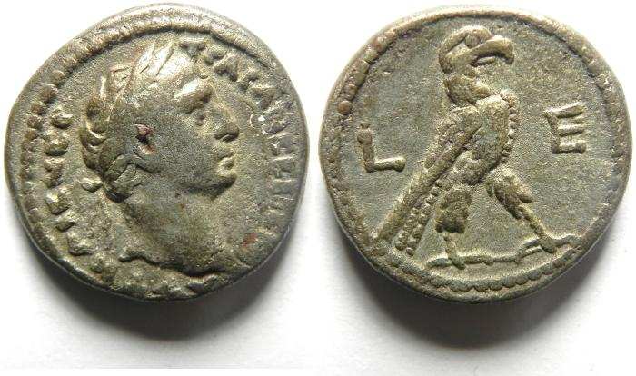 Ancient Coins - 23MM , 13.04 GM Egypt, Alexandria,TRAJAN, AD 98-117 , Billon Tetradrachm , EAGLE , VERY NICE AND ATTRACTIVE COIN