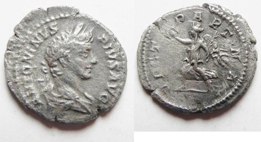 Ancient Coins - CARACALLA DILVER DENARIUS, COMMEMORATING THE VICTORY OVER THE PARTHIANS