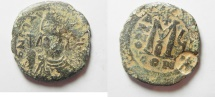 Ancient Coins - BYZANTINE. Maurice Tiberius (AD 582-602). AE follis (26mm, 10.15g). Constantinople mint, second officina. Struck in regnal year 6 (587/8).