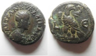 Ancient Coins - Egypt. Alexandria under Tranquillina (AD 241-244). Potin tetradrachm (21mm, 11.78g). Struck in regnal year  5 of Gordian III (AD 241/2)