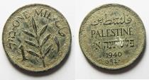 World Coins - PALESTINE 1 MIL BRONZE COIN. 1940