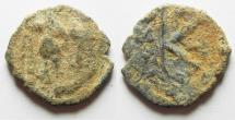 Ancient Coins - BYZANTINE. AS FOUND AE 1/2 FOLLIS