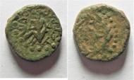 Ancient Coins - Be-Header of John The Baptist: JUDAEA, Herodians. Herod III Antipas. 4 BCE-39 CE. Æ Unit (15mm, 4.34 g). Tiberias mint.