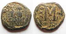 Ancient Coins - BYZANTINE. JUSTIN II & SOPHIA AE FOLLIS.