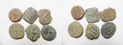 Ancient Coins - LOT OF 6 ARAB-BYZANTINE AE COINS