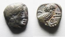 Ancient Coins - Apparently unpublished variety: South Arabia. Sabean kingdom. Late 4th-mid 2nd centuries BC. AR eighth unit (9mm, 0.98g). Imitating Athens.