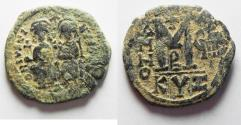 Ancient Coins - BYZANTINE. JUSTIN II & SOPHIA AE FOLLIS . AS FOUND