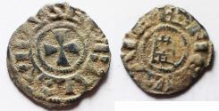 World Coins - AS FOUND: DAVID'S TOWER: Crusaders, Latin Kingdom of Jerusalem. Baldwin III (1143-1163). BI Denier