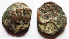 Ancient Coins - DOUBLE-STRUCK: NABATAEA. Aretas IV, with Shaqilat. 9 BC- AD 40. AE 19