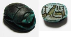 Ancient Coins - ANCIENT EGYPT. RARE EGYPTIAN BLUE SCARAB.  NEW KINGDOM. 1400 - 1200 B.C