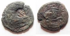 Ancient Coins - BYZANTINE. COUNTERMARKED TIBERIUS II CONSTANTINE AE FOLLIS