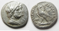 Ancient Coins - Apparently unpublished variety: GREEK. Ptolemaic kings. Ptolemy IV Philopator (221-205 BC). AR tetradrachm (26mm, 13.70g). Uncertain mint.