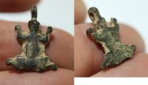 Ancient Coins - ANCIENT HOLY LAND. HELLENISTIC SILVER PENDANT OF A FROG / TOAD. 300 - 100 B.C