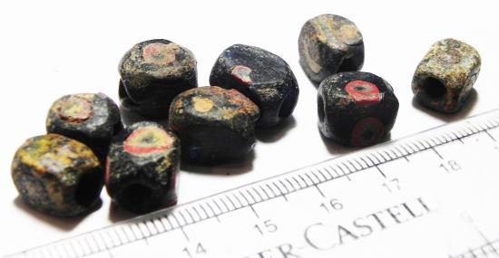 Ancient Coins - ANCIENT ROMAN. BEAUTIFUL TEN INLAID MOSAIC GLASS BEADS. 200 - 300 A.D