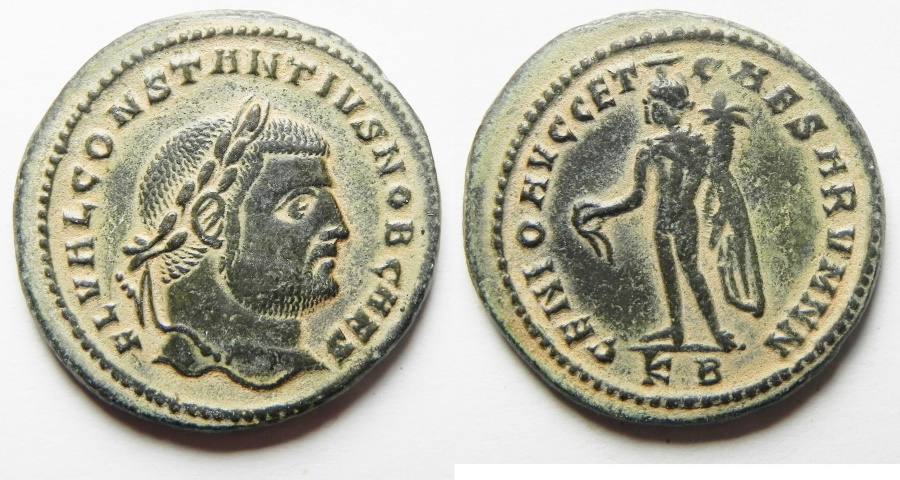 Ancient Coins - BEAUTIFUL: Constantius I. As Caesar Æ Follis. Cyzicus, A.D. 297-299 - heavy 11.68gm