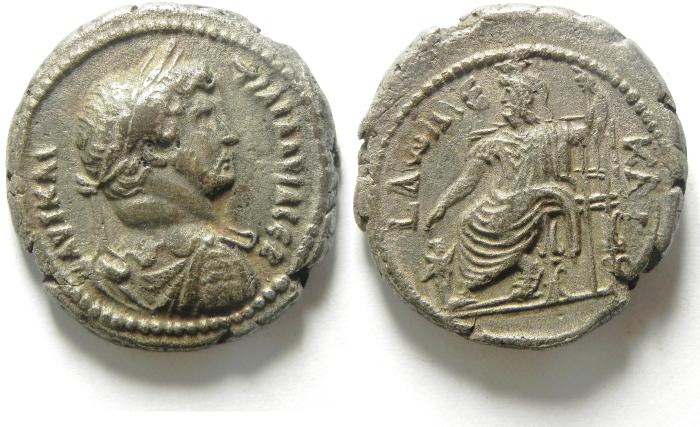 Ancient Coins - EGYPT , ALEXANDRIA , HADRIAN BILLON TETRADRACHM WITH SERAPIS ENTHRONED , YEAR 12 , CHOICE EF CONDITION FOR THE TYPE!!!