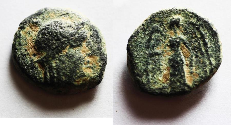 Ancient Coins - NABATAEAN KINGDOM. ARETAS II/III AE 15. 103-96 BC. Damascus mint
