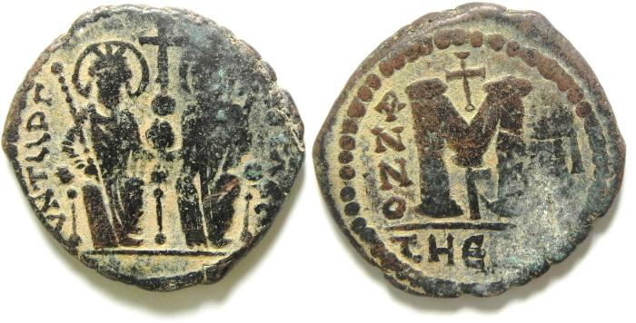 Ancient Coins - BYZANTINE , JUSTIN II & SOFIA , NICE FOLLIS OF ANTIOCH