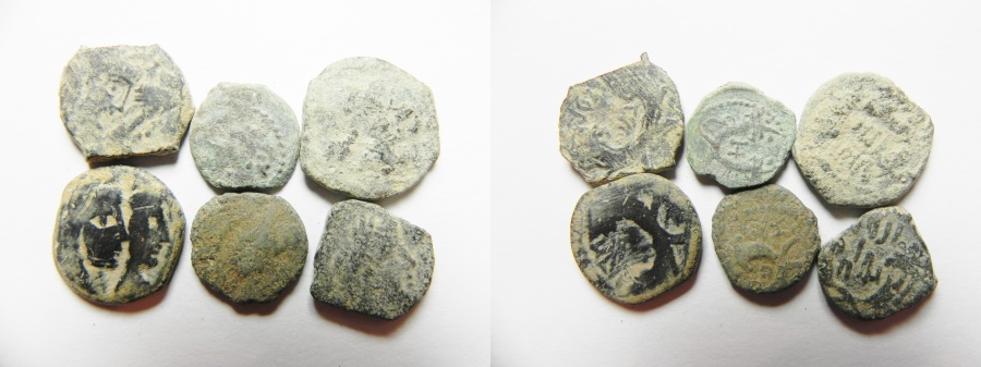 Ancient Coins - LOT OF 6 NABATAEAN BRONZE COINS