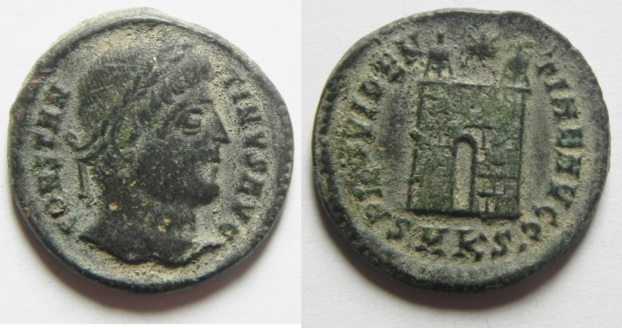 Ancient Coins - CONSTANTINE I AE 3 , CAMP GATE