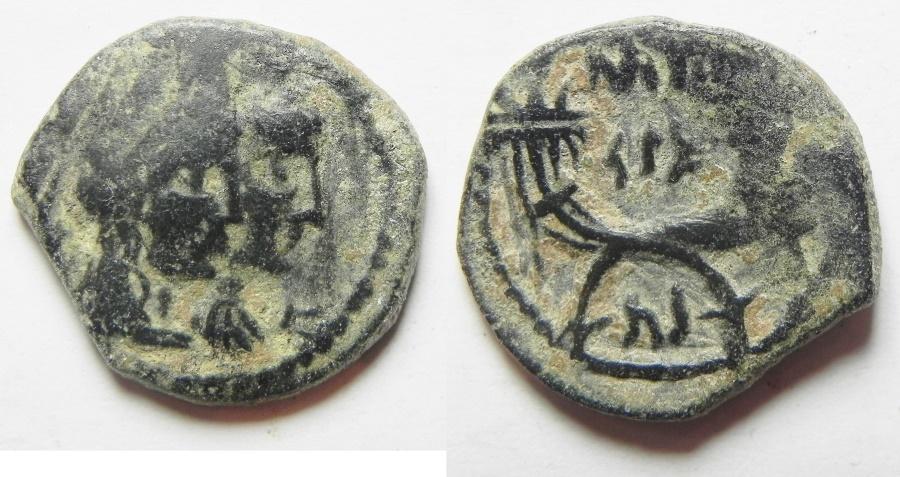 Ancient Coins - NABATAEAN KINGDOM. ARETAS IV & SHAQUELAT AE 19