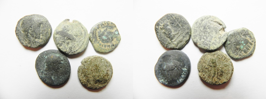 Ancient Coins - LOT OF 5 BIBLICAL CITY COINS INCLUDING ONE SILVER DRACHM OF TRJAN