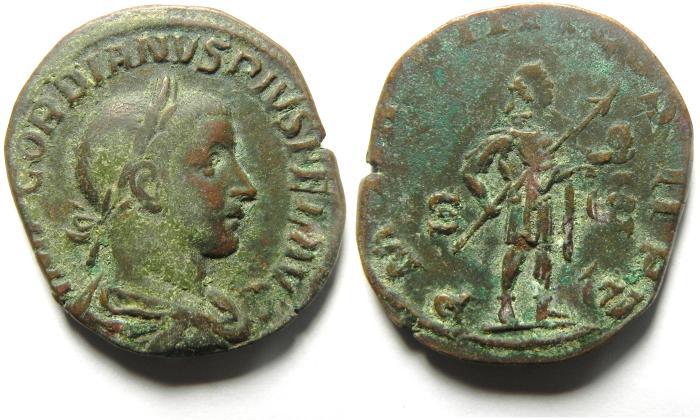 Ancient Coins - Gordian III Æ sestertius, Rome, AD 241–243.