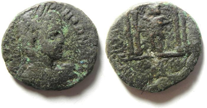 Ancient Coins - Roman Provincial. Syria, Decapolis. Antiochia ad Hippum under Elagabalus, AD 218-222. AE 26 , exteremly rare  !!!
