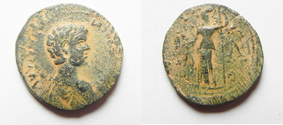 Ancient Coins - ROMAN PROVINCIAL. Messenia. Mothone. Geta ass Caesar (AD 198-209). AE assarion (22mm, 5.51g).