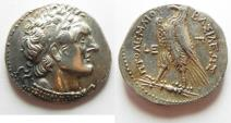 Ancient Coins - Egypt. Ptolemaic kings. Ptolemy VI Philometor (first sole reign, 180-170 BC). AR tetradrachm (26mm, 14.12g) Paphos mint. Struck in regnal year 5 (177/6 BC).