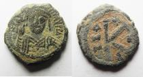 Ancient Coins - AS FOUND: BYZANTINE Maurice Tiberius half follis