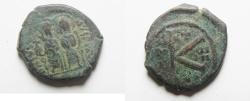 Ancient Coins - BYZANTINE. JUSTIN II & SOPHIA AE HALF FOLLIS. NICE