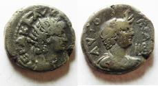 Ancient Coins - 	EGYPT. ALEXANDRIA. NERO BILLON TETRADRACHM. BUST OF ALEXANDRIA