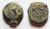 Ancient Coins - ORIGINAL PATINA: JUDAEA. HASMONEAN AE PRUTAH COIN- ARAMIC INSCRIPTION