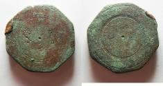 """Ancient Coins - BYZANTINE. LARGE BRONZE WEIGHT OF 10 NUMISMATA. 41.73GM """"NI"""""""