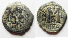 Ancient Coins - BYZANTINE. JUSTIN II & SOPHIA AE FOLLIS , ORIGINAL DESERT PATINA