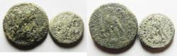 Ancient Coins - AS FOUND: LOT OF 2 PTOLEMAIC. PTOLEMY III BRONZE COINS