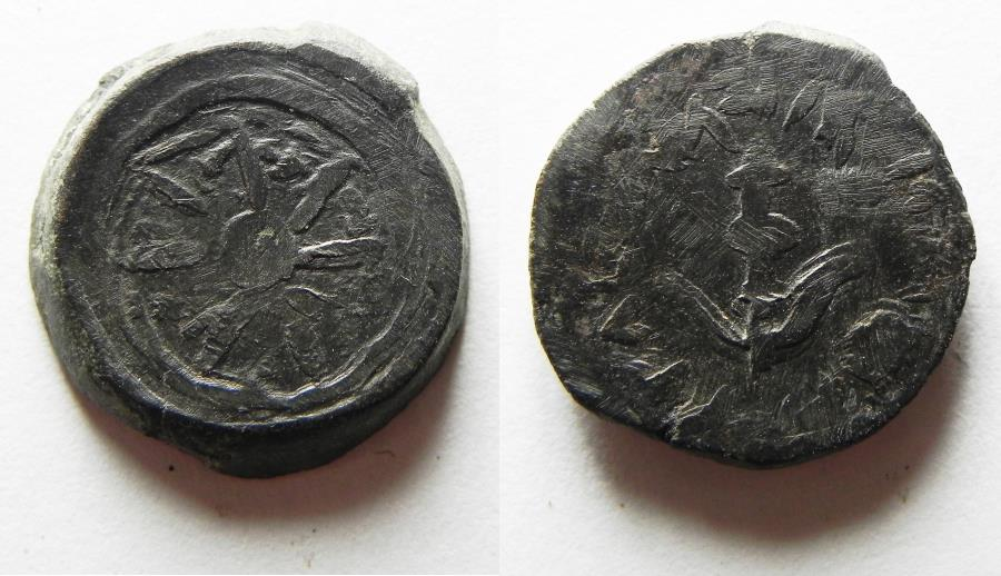 Ancient Coins - Unusual crude strike: Judaea. Hasmonean dynasty. Alexander Jannaeus (103-76 BC). AE prutah (17mm, 4.09g).