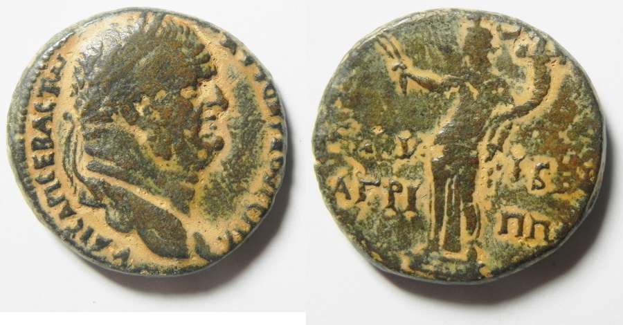 Ancient Coins - Judaea. Herodian dynasty. Agrippa II with Vespasian (69-79 CE). AE 25mm, 14.38 gm. Caesarea Panias mint